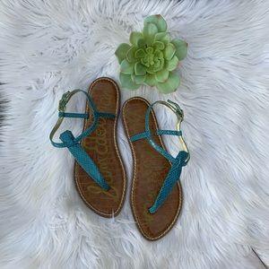 Sam Edelman Turquoise Reptile Gigi Thong Sandals